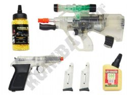 Mini Defender Players Kit Electric Airsoft Machine Gun and Pistol Clear